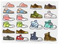 Cartoon different shoes and soks vector icons