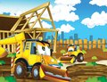 The cartoon digger illustration for the children happy and colorful Royalty Free Stock Photography