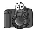 Cartoon digital camera vector illustration of a little black with a smiling face isolated on white Stock Image