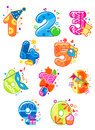 Cartoon digits and numbers with toys for childish mathematics design Stock Photography