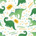 Cartoon Dino enjoy a walk and a nice warm day. Seamless dinosaur pattern. For children`s fashion, design of children`s clothing, f