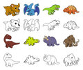 Cartoon dinosaur illustrations a set of prehistoric animal and color and black an white outline versions Stock Image