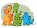 Cartoon dinosaur monsters cute illustration of three colorful Royalty Free Stock Images