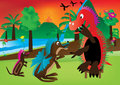 Cartoon Dinosaur Playing_eps Royalty Free Stock Images