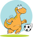 Cartoon dinosaur playing soccer illustration of a Stock Photography