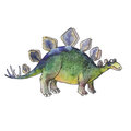 Cartoon dinosaur Stegosaurus in watercolor style Royalty Free Stock Photo