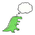 cartoon dinosaur with thought bubble Royalty Free Stock Photo