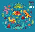 Cartoon dinosaurs collection in vector.