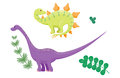 Cartoon dinosaurs diplodocus vector illustration isolated monster animal dino prehistoric character reptile predator