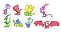 Cartoon dinosaurs illustrated set of colorful isolated on white background Stock Photo