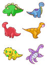 Cartoon dinosaurs illustrated set of colorful isolated on white background Royalty Free Stock Photo