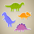 Cartoon dinosaurs illustration of different colorful Stock Image