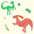 Cartoon dinosaurs vector illustration monster animal dino prehistoric character reptile predator jurassic