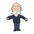 Cartoon disapointed old man hand drawn illustration in retro style vector available Royalty Free Stock Photo