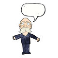 Cartoon disapointed old man with speech bubble Stock Images