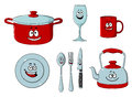 Cartoon dishware and kitchenware set for cooking design Royalty Free Stock Photography
