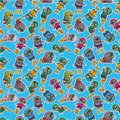 Cartoon diver seamless pattern Stock Image