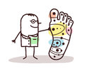 Cartoon doctor with big foot and and reflexology