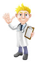Cartoon doctor with clipboard illustration of a young waving and holding a Royalty Free Stock Photography