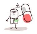 Cartoon doctor with dangerous medicine capsule