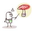 Cartoon doctor with dangerous mushroom