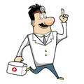 Cartoon doctor with first aid kit Royalty Free Stock Images