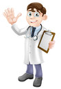 Cartoon doctor holding clipboard an illustration of a friendly a and waving Royalty Free Stock Images