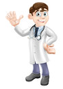 Cartoon doctor an illustration of a friendly smiling and waving Royalty Free Stock Photos