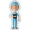 Cartoon doctor professional surgery mask hat clipboard