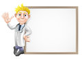 Cartoon doctor and sign a leaning on a big or banner with room for your text Stock Photos