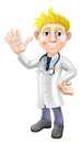 Cartoon doctor waving illustration of a young standing and with stethoscope Stock Photo