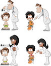 Cartoon doctors checking boy s weight on weighing scale and giving an injection in arm vaccinating allergy or flu shot by syringe Royalty Free Stock Images