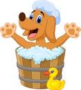 Cartoon Dog bathing time Royalty Free Stock Photo