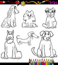Cartoon dog breeds coloring page book or black and white illustration of funny purebred dogs or puppies Stock Photo