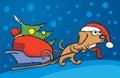 Cartoon dog dragging christmas sleigh