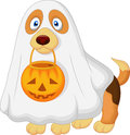 Cartoon dog dressed up as a spooky ghost illustration of Stock Photos