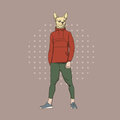 Cartoon Dog Hipster Wear Fashion Clothes Retro Abstract Background