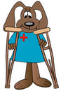 Cartoon dog holding crutches Stock Images