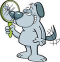 Cartoon dog holding a mirror.