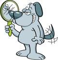 Cartoon dog holding a mirror.