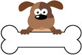 Cartoon Dog Over A Bone Banner Stock Image