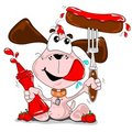 A cartoon dog with a sausage Royalty Free Stock Image