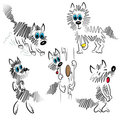Cartoon dog set. graphic dog illustration Stock Images