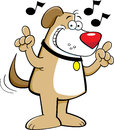 Cartoon dog singing illustration of a Stock Images