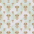 Cartoon dog symmetry bone seamless pattern