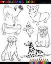 Cartoon Dogs for Coloring Book or Page Stock Photos