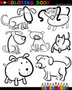 Cartoon Dogs for Coloring Book or Page Stock Images