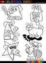 Cartoon Dogs for Coloring Book or Page Stock Image