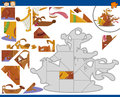 Cartoon dogs jigsaw puzzle task Royalty Free Stock Photo