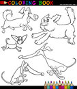 Cartoon Dogs or Puppies for Coloring Book Stock Photography